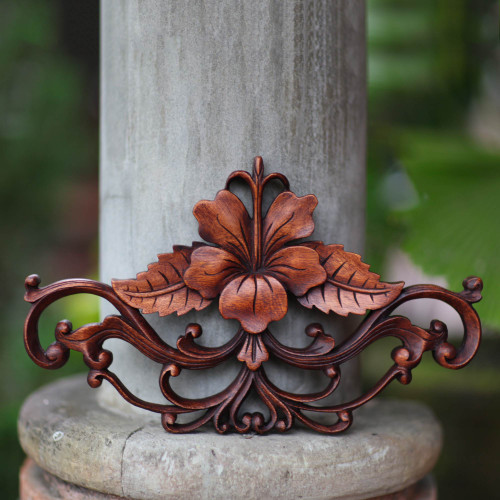 Unique Floral Wood Relief Panel from Indonesia 'Hibiscus'