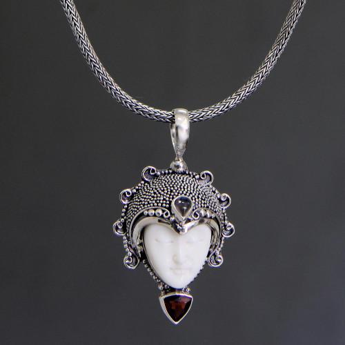 Garnet and Bone Silver Pendant Necklace 'Princess Aura'