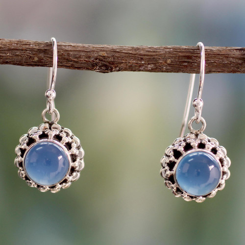 Artisan Crafted Silver and Blue Chalcedony Earrings India 'Eternally Blue'