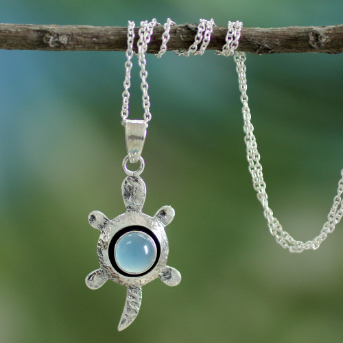 Chalcedony and Silver Pendant Necklace 'Turtle Wisdom'