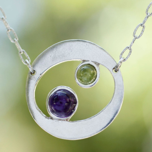 Amethyst and peridot pendant necklace 'Drifters'