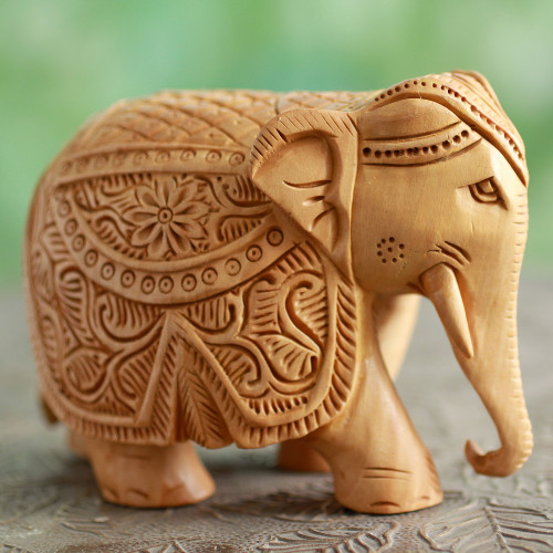 Wood Elephant Sculpture Hand Carved in India 4 Inch 'Majestic Elephant'