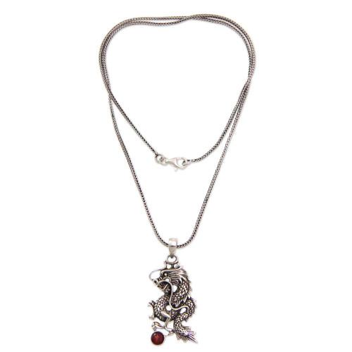 Men's Fair Trade Sterling Silver and Garnet Necklace 'Dragon's Ball'