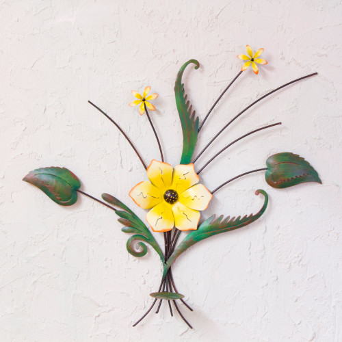 Handcrafted and Painted Yellow Flower Iron Wall Sculpture 'Lovely Lily'