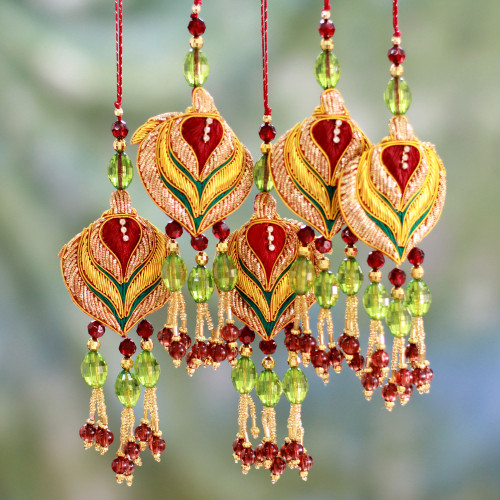 Beaded ornaments Set of 5 'Golden Lotus'