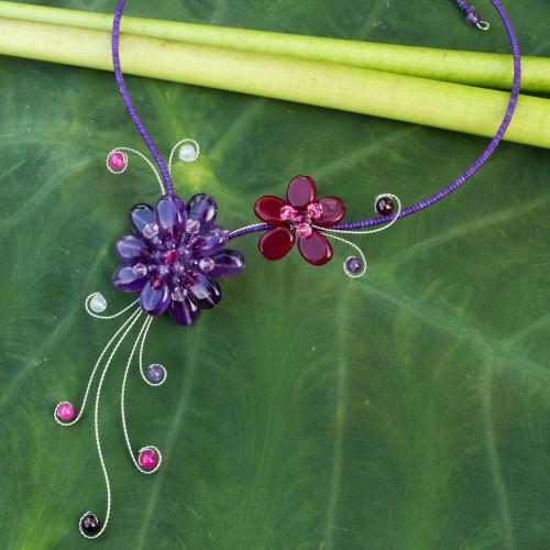 Handmade Amethyst and Garnet Choker 'Gorgeous Blossom'