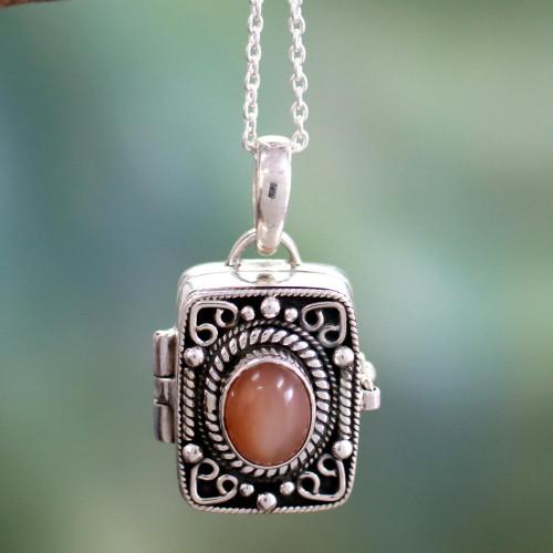 Silver and Moonstone Prayer Locket Necklace 'Secret Prayer'