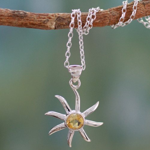 Citrine and Sterling Silver Necklace from India Jewelry 'Golden Sun'