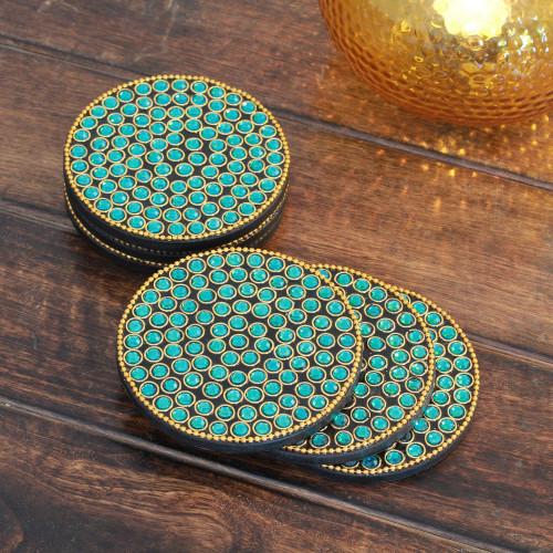Bejeweled coasters Set of 6 'Aqua Glitz'