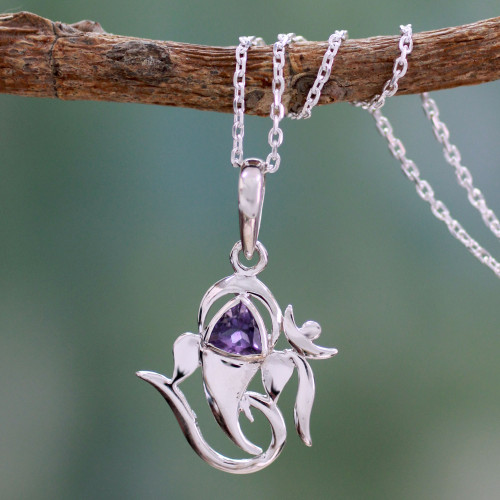 Sterling Silver and Amethyst Necklace Hindu Jewelry 'Mystical Ganesha'