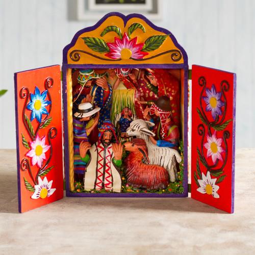 Wood and ceramic nativity scene 'Christmas Joy'