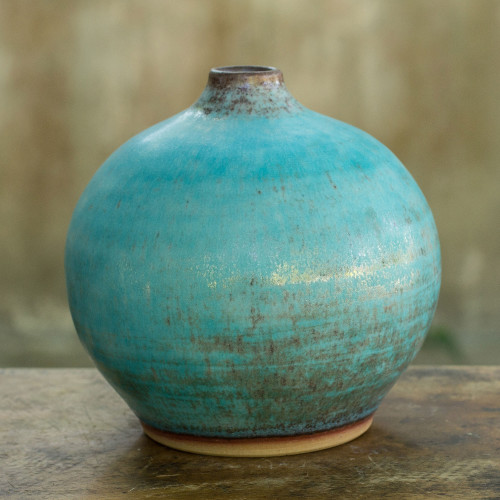 Watertight Ceramic Vase Crafted by Hand large 'Turquoise Realm'