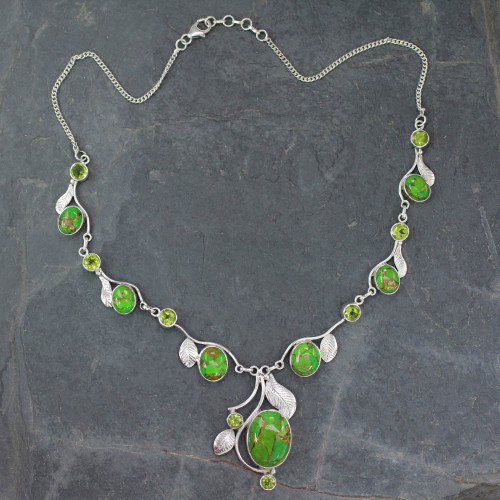 Green Turquoise and Peridot Handmade Necklace from India 'Dew Blossom'