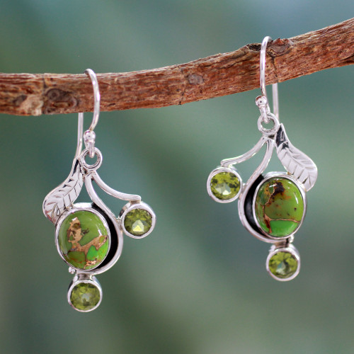 Green Turquoise and Peridot Earrings from India 'Dew Blossom'