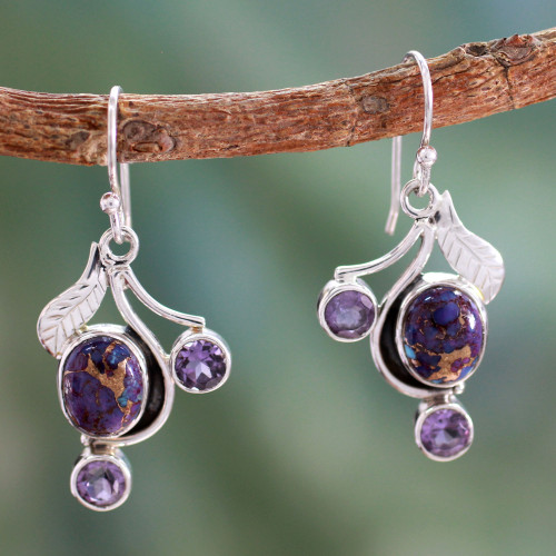 Purple Turquoise and Amethyst Handmade Earrings from India 'Dew Blossom'