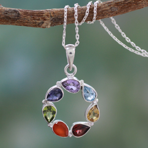 Multi-gemstone Necklace Chakra Jewelry from India 'Peace Within'