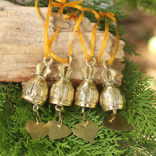 Set of 4 Brass Ornaments Crafted by Hand 4 Inch 'Buddhist Bells'