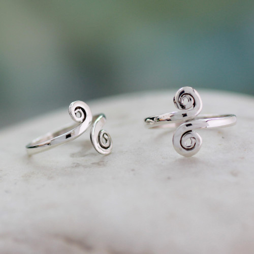 Handcrafted Sterling Silver Toe Rings from India Pair 'Luminosity'