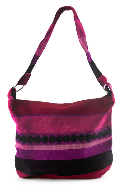 Handcrafted Cotton Shoulder Bag Lined 'Luscious Purple'