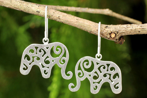 Handcrafted Sterling Silver Thai Elephant Earrings 'Elephant Arabesque'