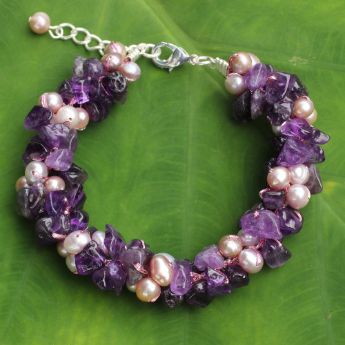 Pink Pearls and Amethyst Handmade Bracelet 'Gracious Lady'
