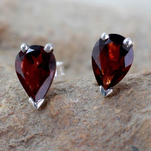Fair Trade Garnet Stud Earrings 2.5 cts 'Devotion'