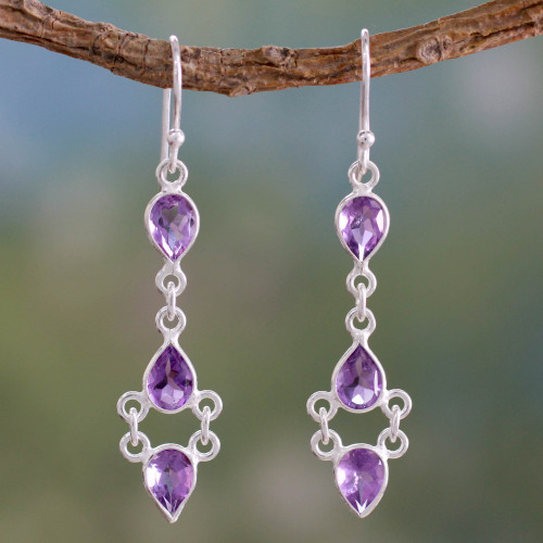 Amethyst and Sterling Silver Indian Earrings 'Mystic Wonder'