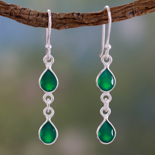 Fair Trade Sterling Silver and Green Onyx Earrings 'Mystical Femme'