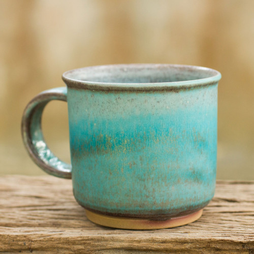 Thai Handmade Turquoise Blue and Brown Pottery Mug 'Earth and Sky'