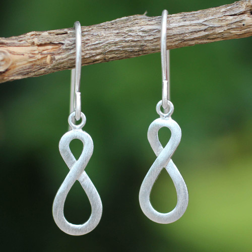 Handcrafted Infinity Symbol Sterling Silver Dangle Earrings 'Into Infinity'