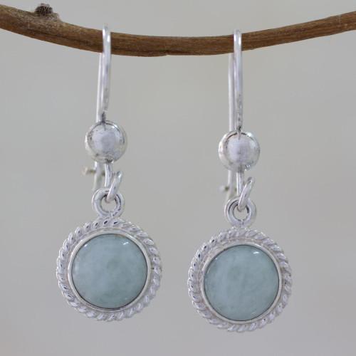 Guatemala Light Green Jade Sterling Silver Dangle Earrings 'Green Apple'