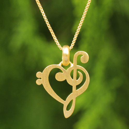 Artisan Crafted Brushed Vermeil Music Theme Necklace 'Music of Love'