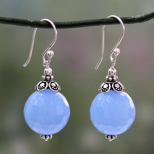 Artisan Crafted Blue Chalcedony and Sterling Silver Earrings 'Glorious Blue'