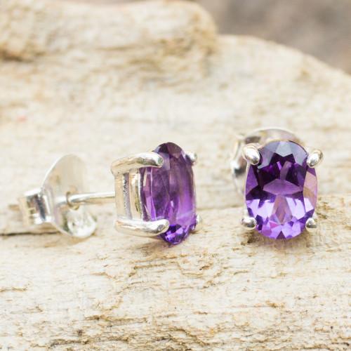 Amethyst Stud Earrings Sterling Silver Thai Jewelry 'Sparkling'
