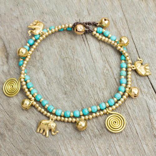 Calcite Bell Anklet with Brass Beads and Charms 'Elephant Bells'