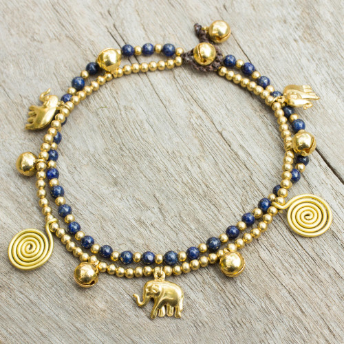 Bell Anklet with Brass Charms and Lapis Lazuli 'Elephant Bells'