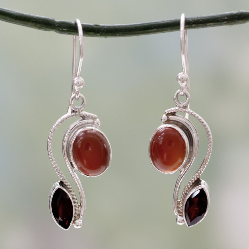 Silver Handcrafted Carnelian and Garnet Earrings from India 'Colorful Curves'
