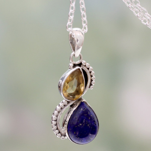 India Silver and Lapis Lazuli Necklace with Faceted Citrine 'Two Teardrops'