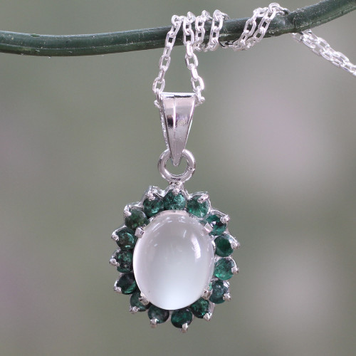 Sterling Silver Necklace with Emerald and Moonstone 'Love and Devotion'