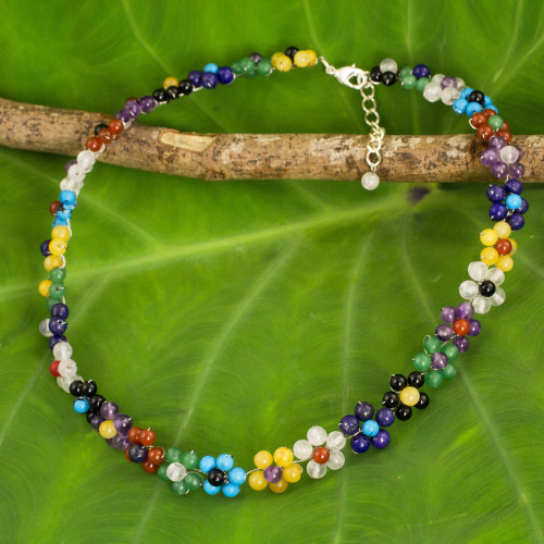 Colorful Multi Gemstone Flower Necklace from Thailand 'Rainbow Blooms'