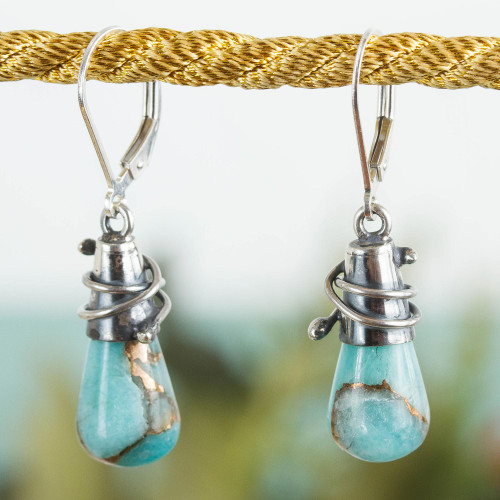Sterling Silver and Composite Amazonite Earrings from Mexico 'Golden Sea Currents'