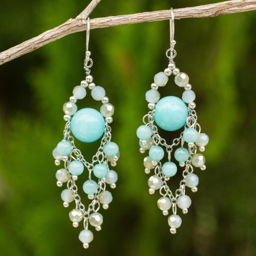 Beaded Chandelier Earrings with Blue Quartz and Glass Beads 'Brilliant Meteor'
