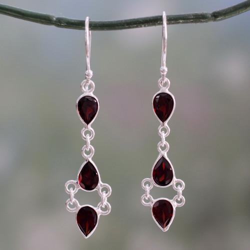 Indian Fair Trade Garnet and Sterling Silver Earrings 'Mystic Wonder'
