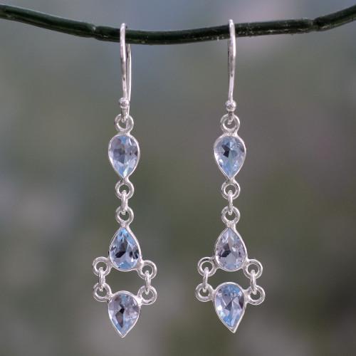 Indian Fair Trade Sterling Silver Blue Topaz Earrings 'Mystic Wonder'
