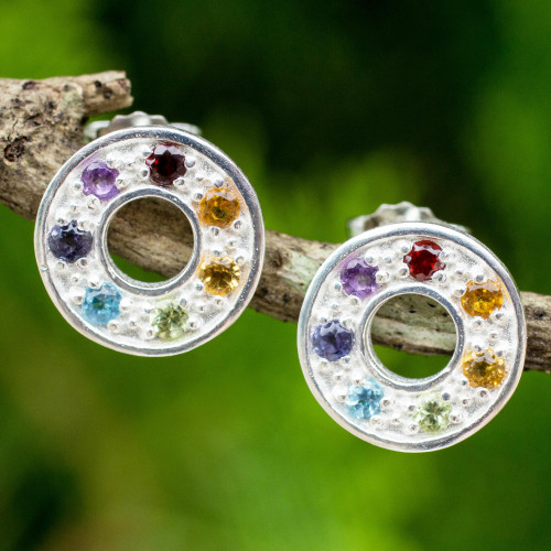 Chakra Wheel Multiple Gemstones on Sterling Silver Earrings 'Chakra Honor Wheel'