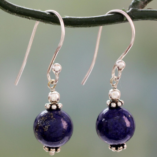 Petite Lapis Lazuli Dangle Earrings with Sterling Silver 'Royal Discretion'