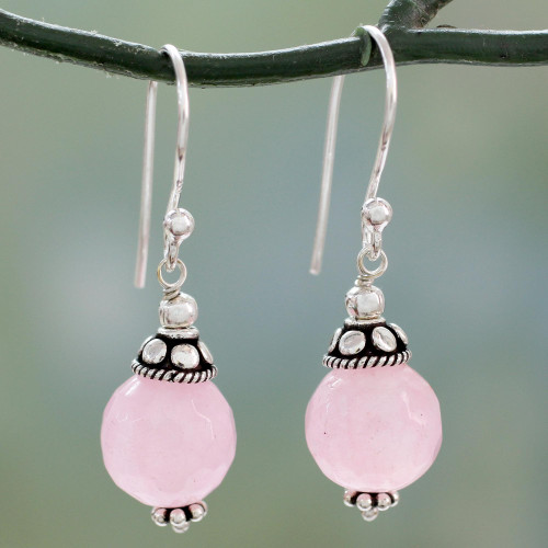 Pink Chalcedony Dangle Earrings with Sterling Silver 'Royal Discretion'