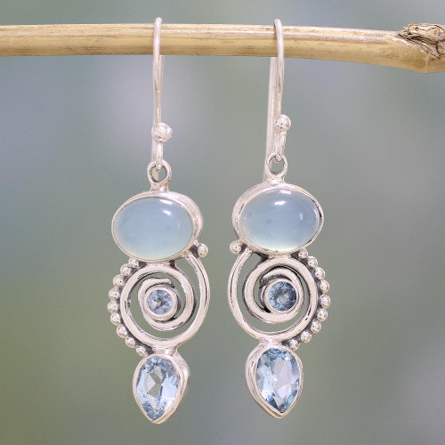 Blue Topaz and Chalcedony Dangle Earrings from India 'Sentimental Journey'