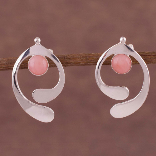 Rose Quartz and Sterling Silver Drop Earrings from Peru 'Caress of an Angel'