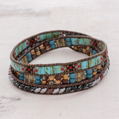 Colorful Glass Beaded Wrap Bracelet from Guatemala 'Santiago Atitlan Path'
